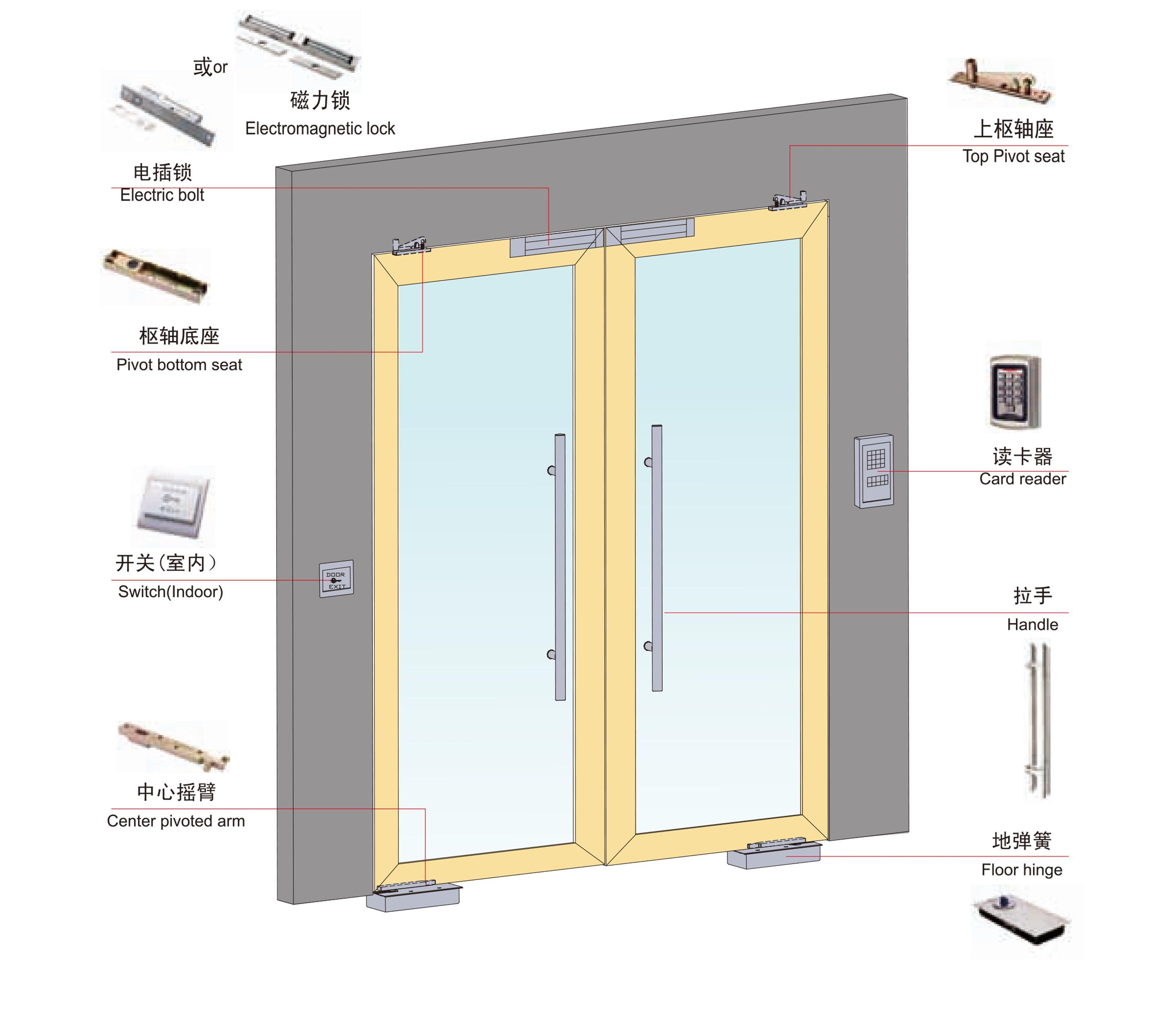 New Design Exterior Outdoor Swing Spring Aluminum Glass Doors pictures & photos