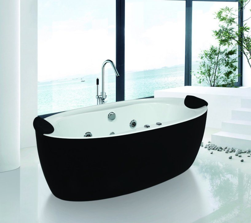 China Modern Design Free Standing Black Color Whirlpool SPA Bathtub ...