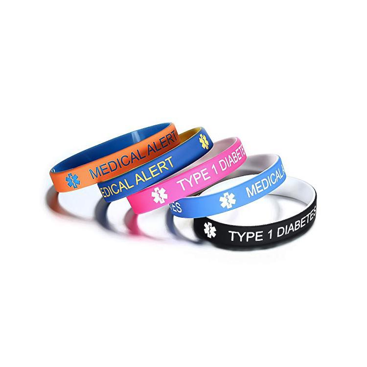 Type 1 Diabetes Insulin Dependent Alert Silicone Wristband Type 2 Bracelet