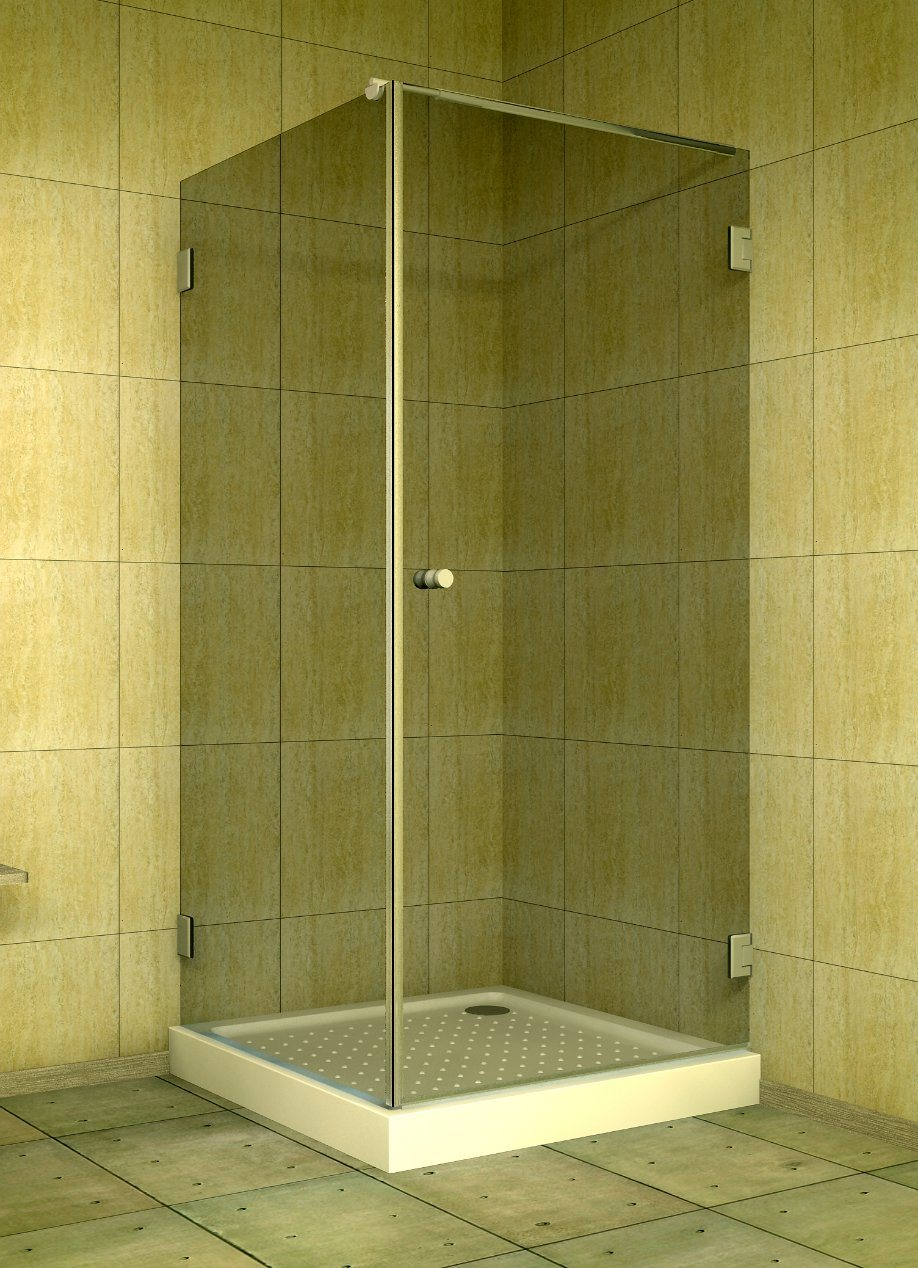 Hot Item Simple Frameless Design Square Style Single Hinged Pivot Door Shower Enclosure