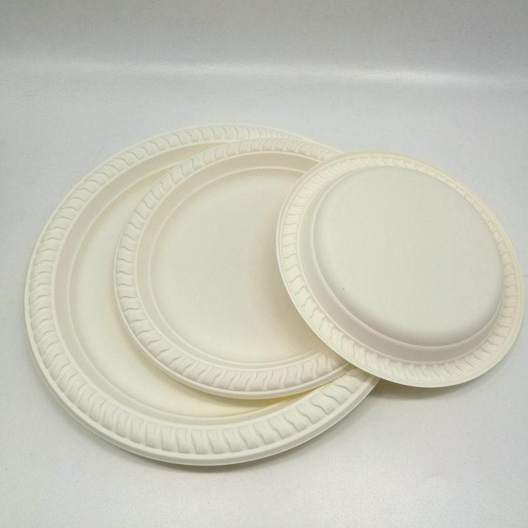 [Hot Item] Disposable Biodegradable Cornstarch Plastic Round Plate  Disposable Plates