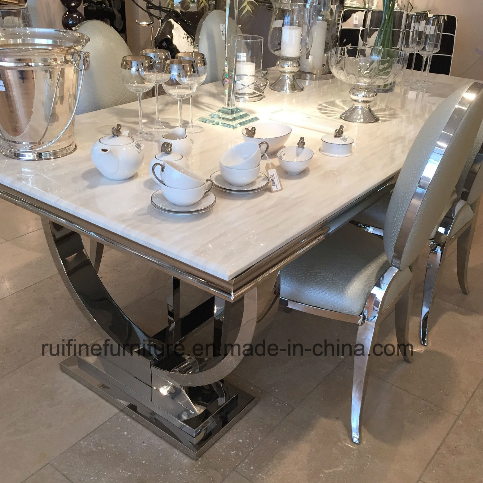 China Modern Luxury Chrome Nature Marble Top Arianna Dining Table And Leather Chair China Dining Table Chair Marble Dining Table