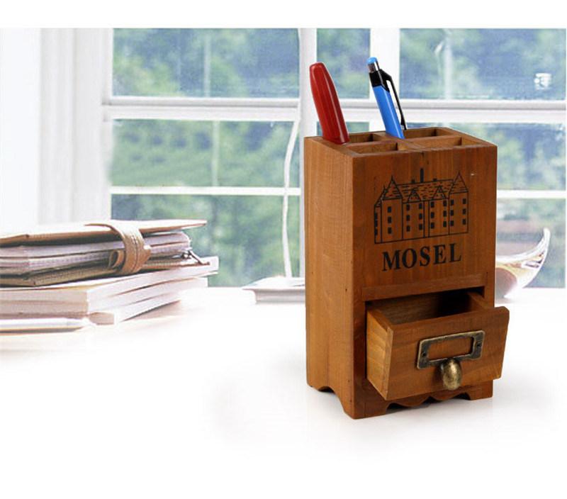 China Custom Logo Bamboo Wood Desk Pen Pencil Holder Chest Office Wooden