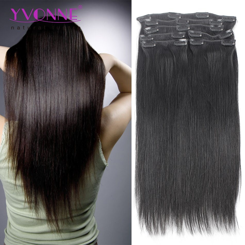China Clip In Hair Extensions Natural Straight Color 1b For African