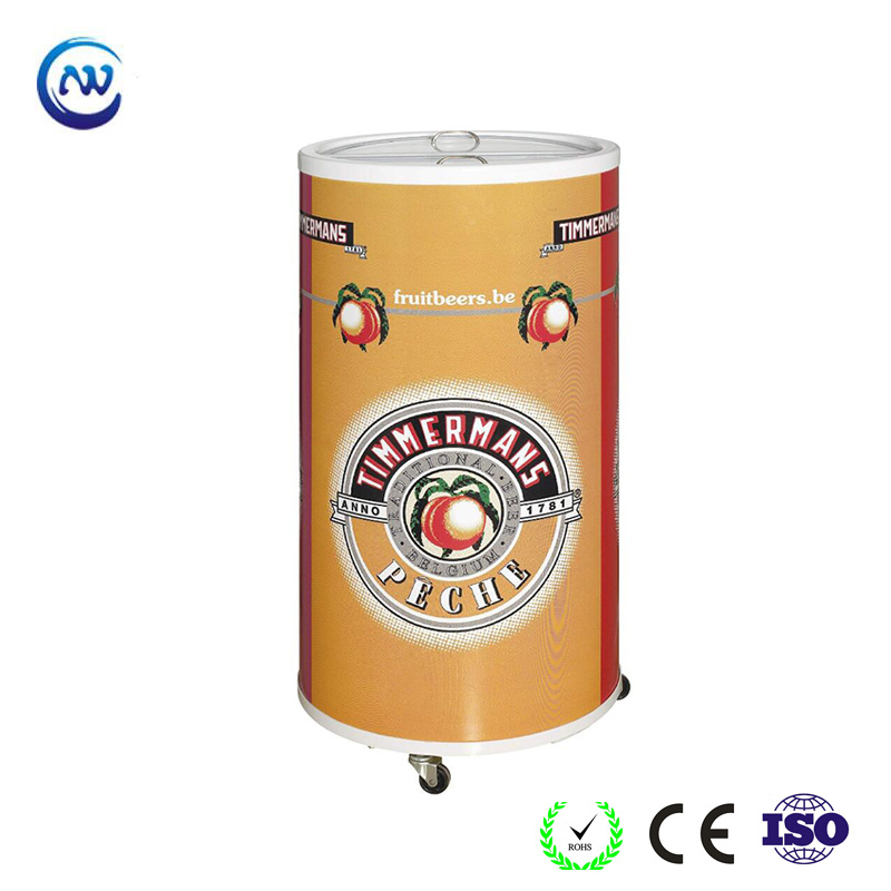 China Outdoor Portable Round Barrel Beverage Party Cooler For Beer Bottle Sc 50t Refrigerator Freezer