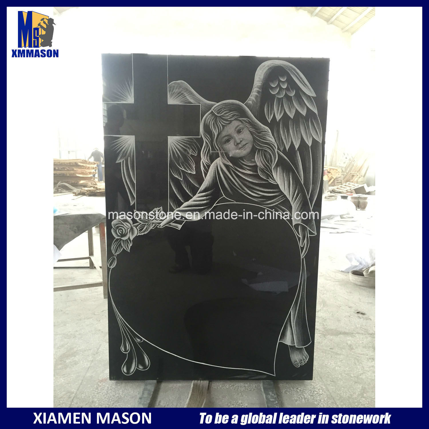 High Quality Black with Laser Engraving Granite Headstones pictures & photos