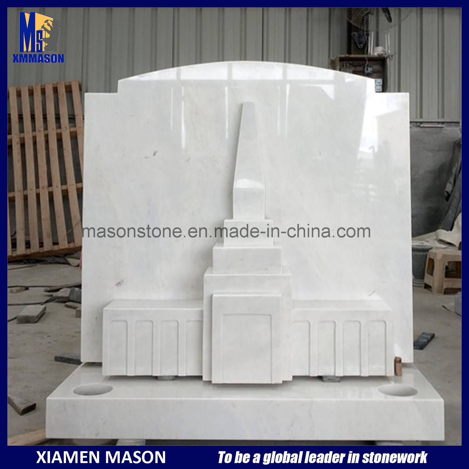 China Mixed Mormon Temple Headstone in White Marble - China White ...