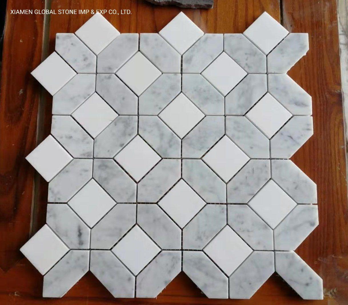 China Carrara Thassos White Marble Square Hexagon Shape Mosaic Tiles Wall Backsplash Panels Photos Pictures Made In China Com