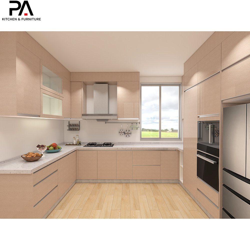 [Hot Item] Commercial Furniture Modular Custom Modern U Shaped High Gloss  Kitchen Interior Cabinets