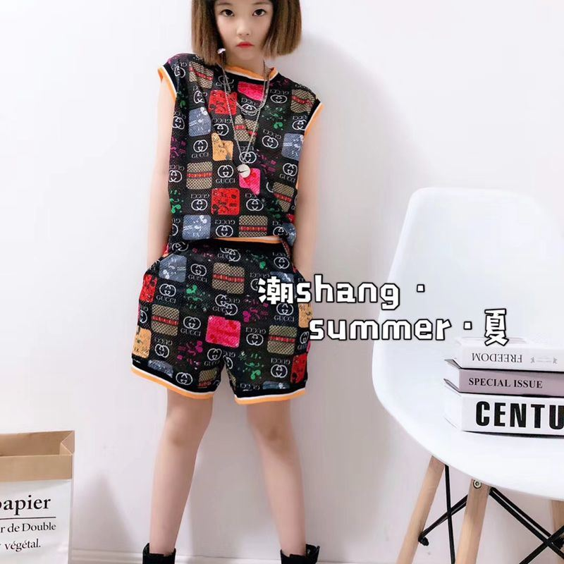 China The Latest Summer Girls Knitting Brand Cartoon Printing Air Drying Fabric High Quality Casual Shorts Suit Children Wear Girls Wear Children S Wear China Girl Suit And Suit Price