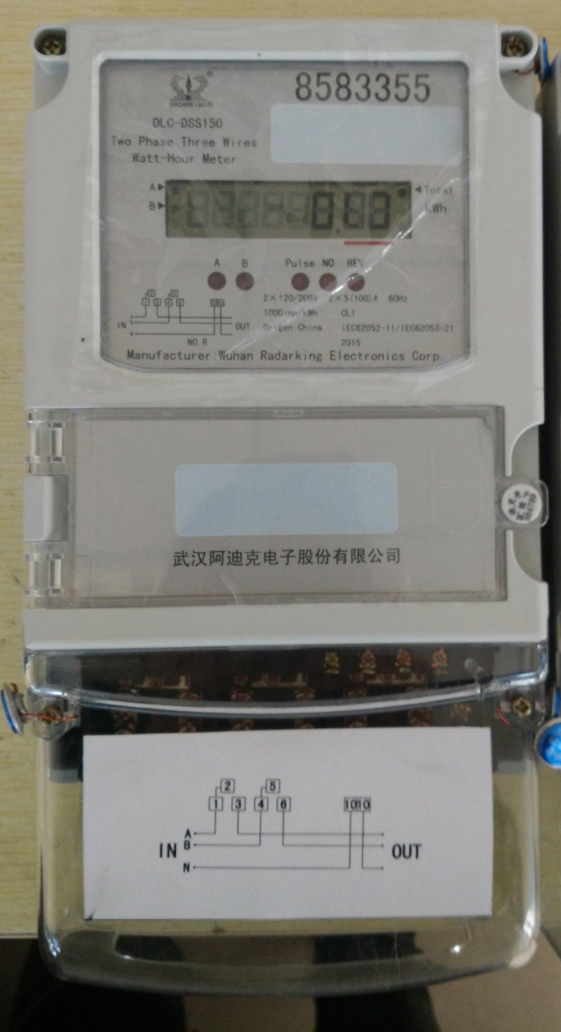 China Two Phase Three Wire Electric Meter - China Electronic Meter ...