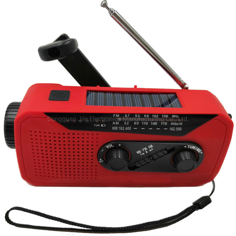 Multifunctional Hand Radio Solar Crank Camping Am/FM/Noaa Weather Radio with LED Flashlight Power Bank pictures & photos