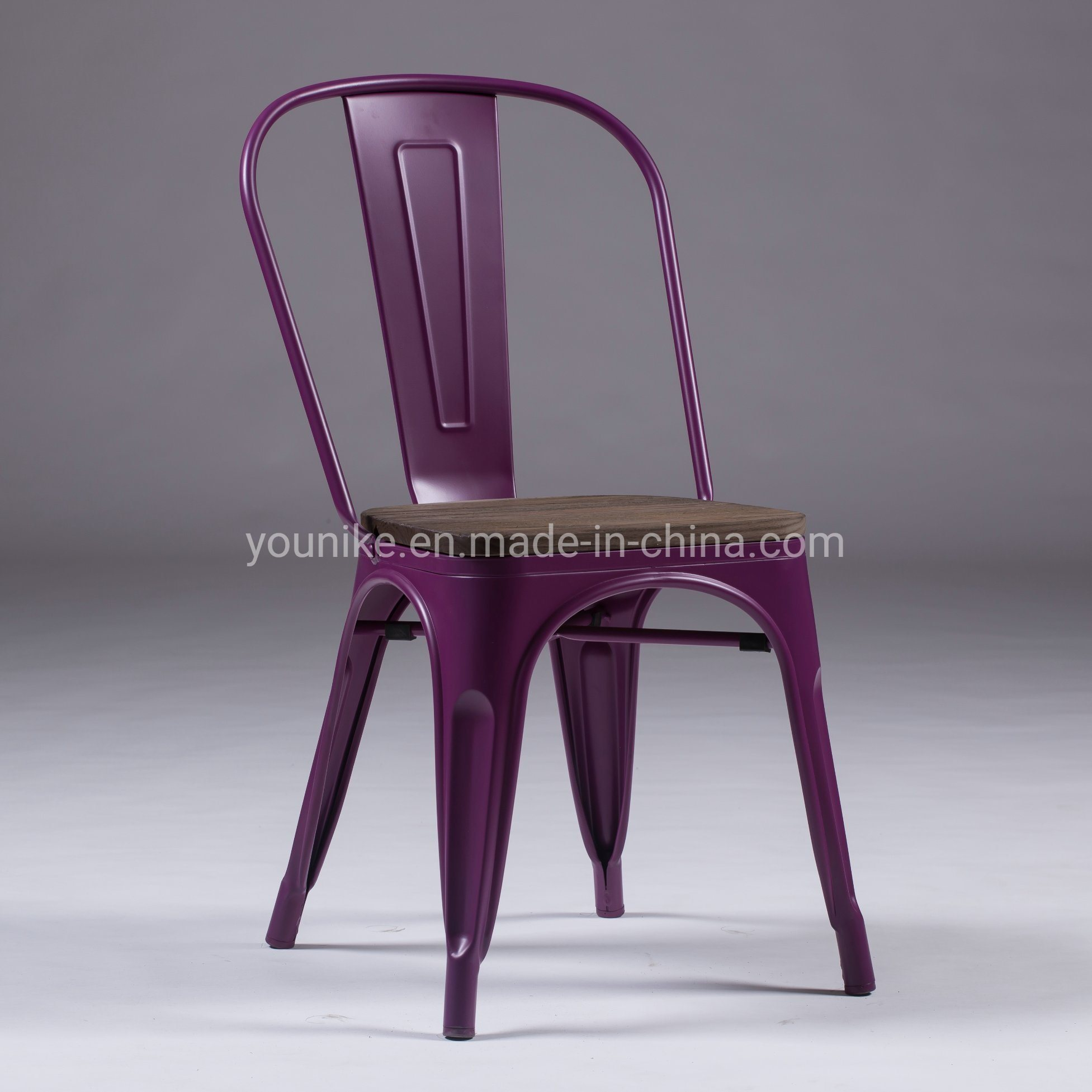 Hot Item Industrial Tolix Modern Metal Dining Chair With Wood Antique Purple
