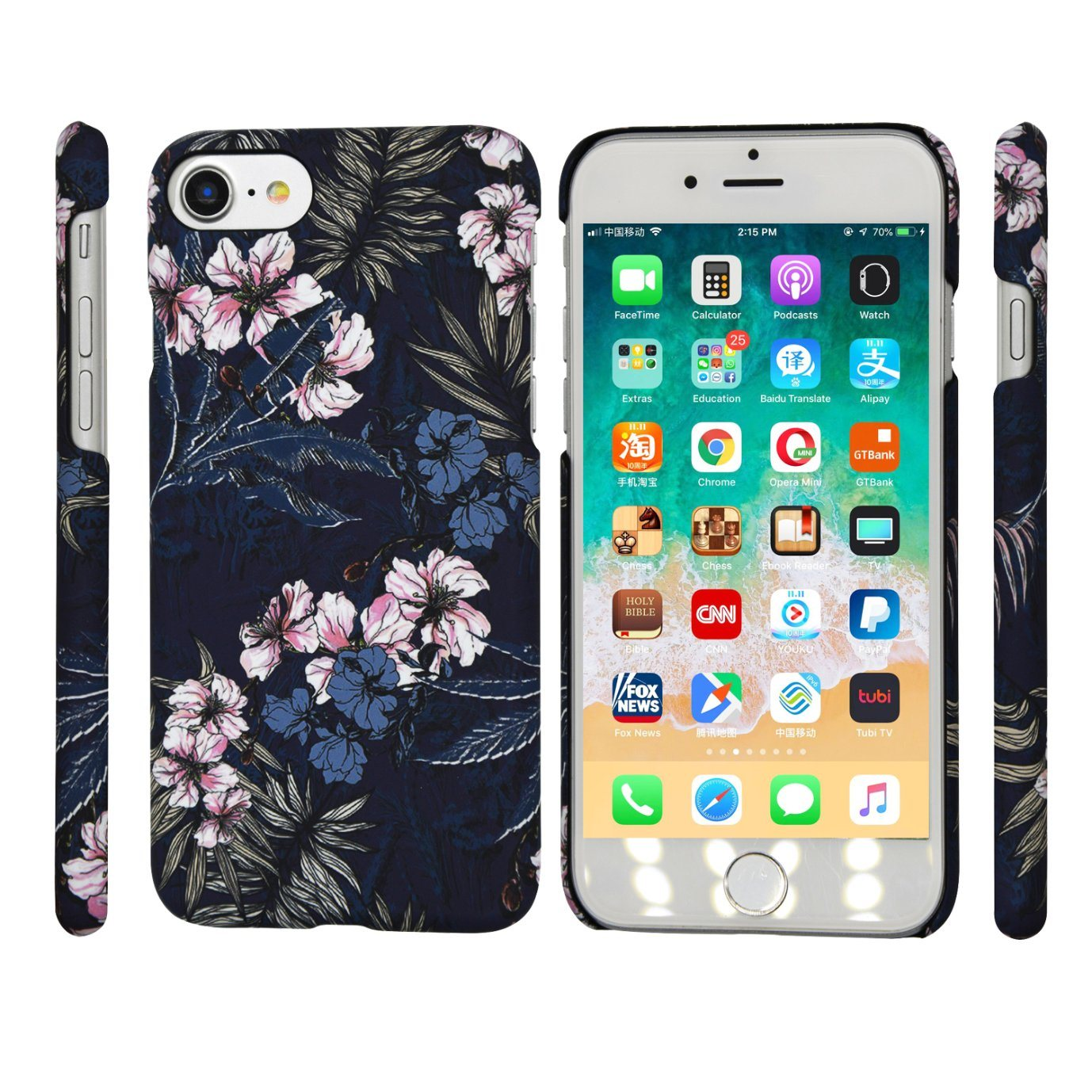 [Hot Item] Hot Full Printing Black Flower Pattern Cellular Mobile/Cell  Phone Case for iPhone (6/7/8/6s/8s/X Plus/Xs Max/Xr/Xs/8plus)