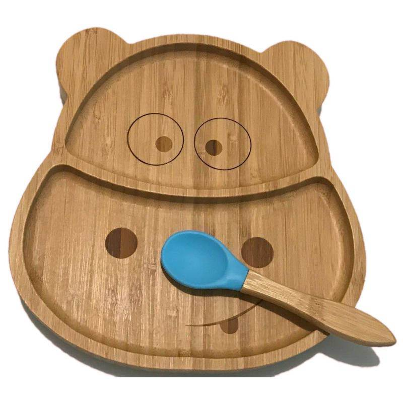 Suction Plates for Toddlers,Baby Divider Dinner Plate Feeding Spill Proof Natural Bamboo Suction Plate with Spoon Stay Put Feeding Plate