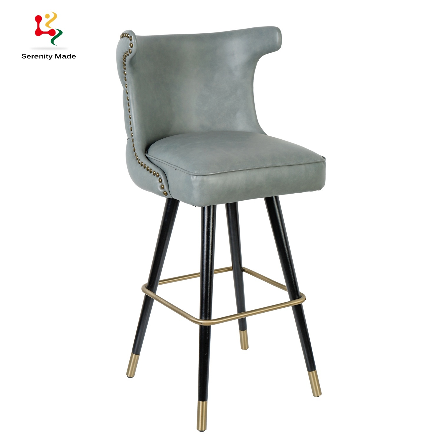 China High Quality Leather Upholstered Bar Stool Metal Leg ...