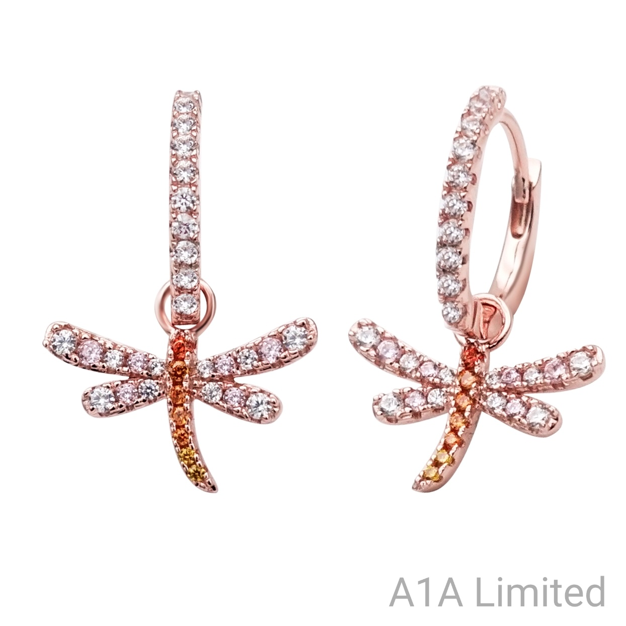 Sterling Silver Rhodium-plated Childs CZ Dragonfly Post Earrings