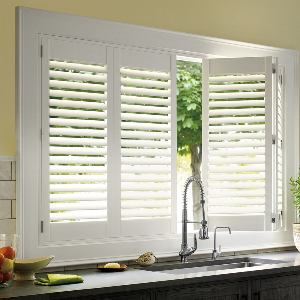 Custom White Indoor Wood Window Blinds