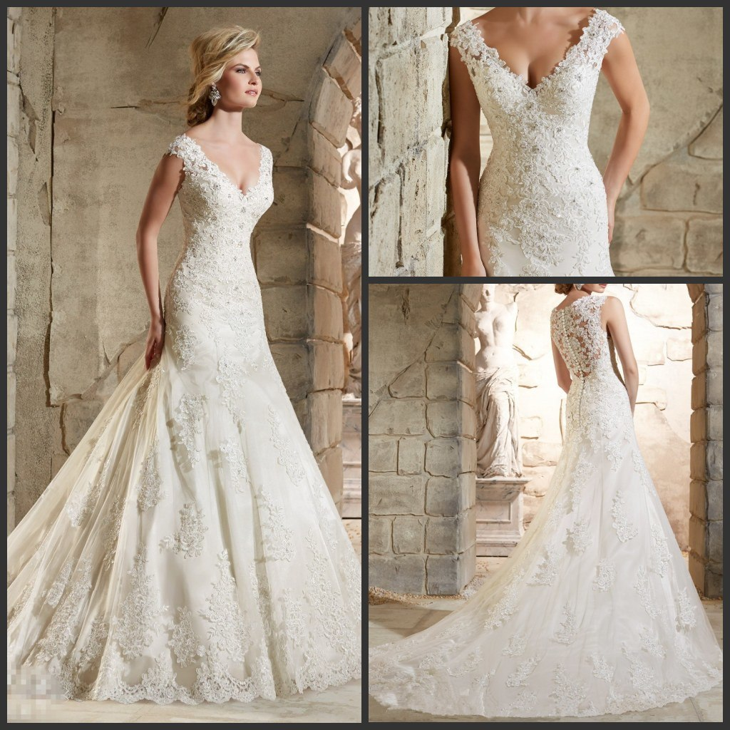 Wedding Gowns From China: China Sheer Lace Back Wedding Dresses V-Neck Custom Made