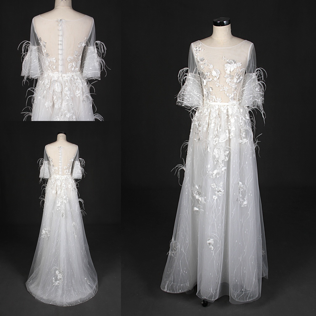 China Newest 3/4 Sleeve Feather A Line Lace Wedding Dress Evening ...