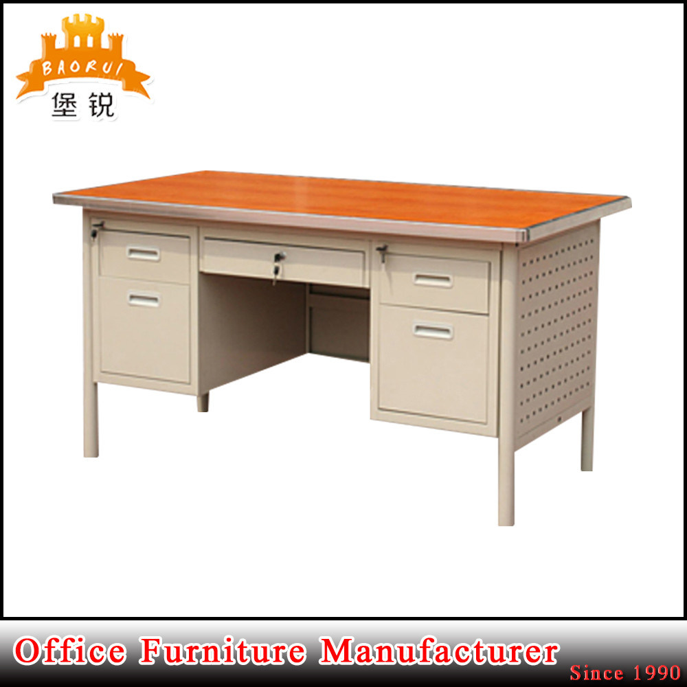 Wooden Top And Double Pedestal Furniture Steel Office Desk Computer Table
