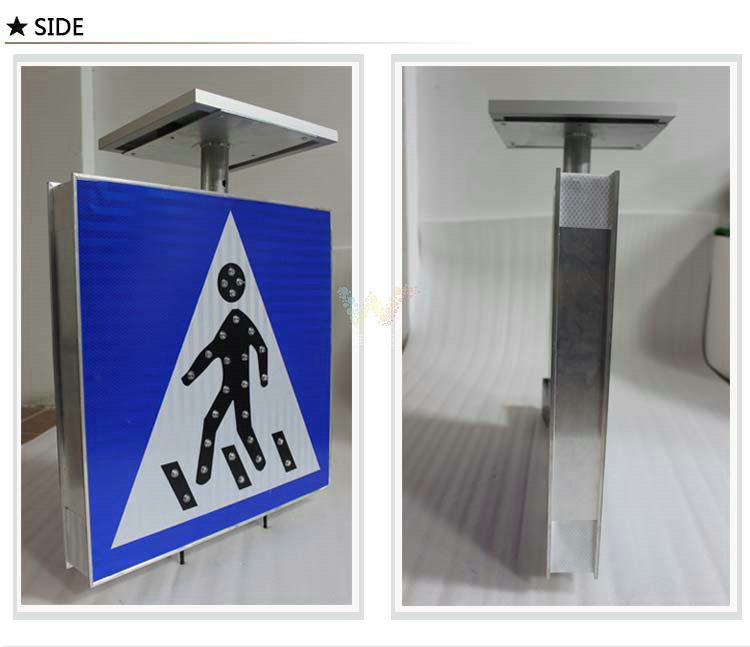 Aluminum Road Safety Pedestrian Solar LED Traffic Sign