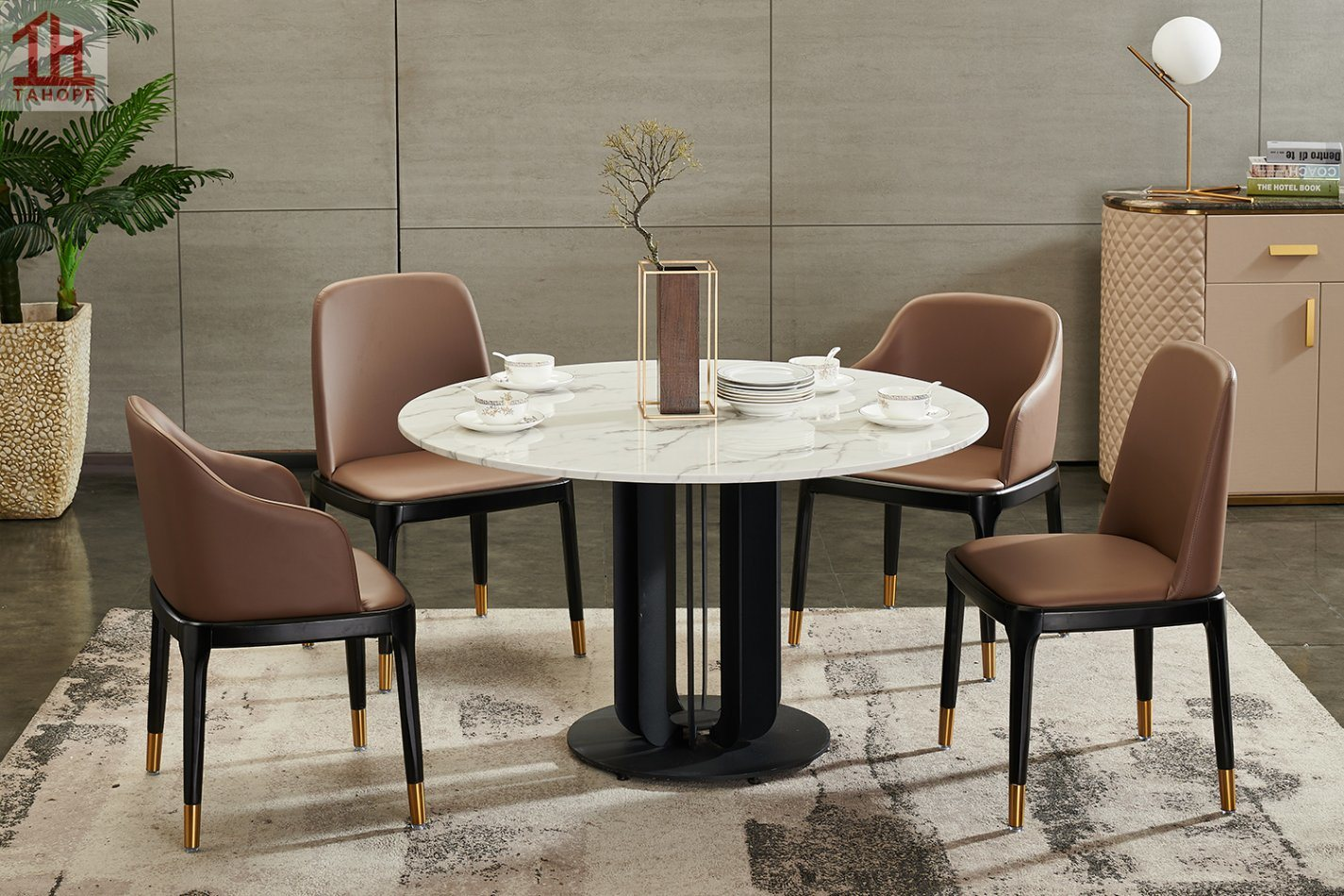 [Hot Item] Luxury Italian 9.9m Marble Top Round Dining Table Set 9 Chairs  Metal Feet