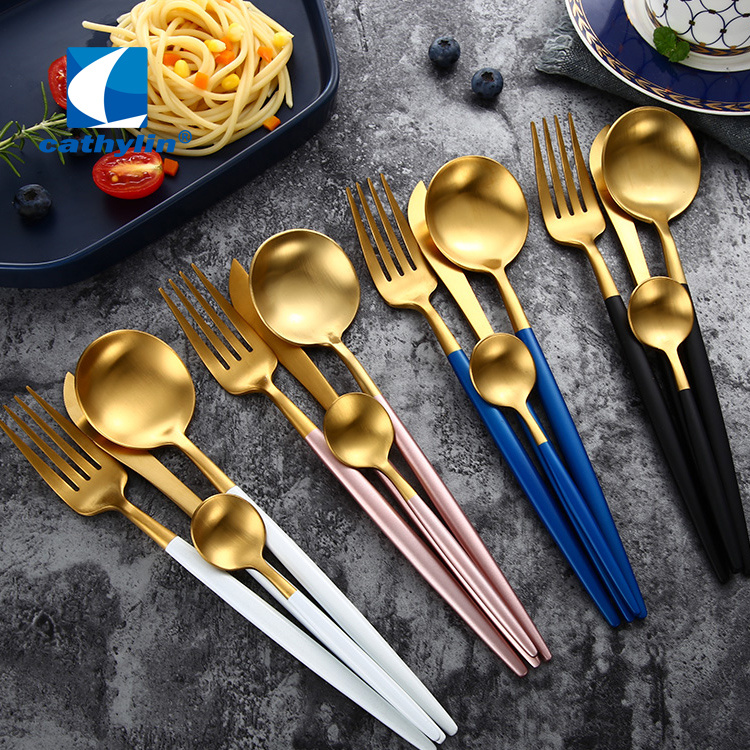 Portugal Stainless Steel Gold Cutlery for Wedding Hotel Restaurant Events
