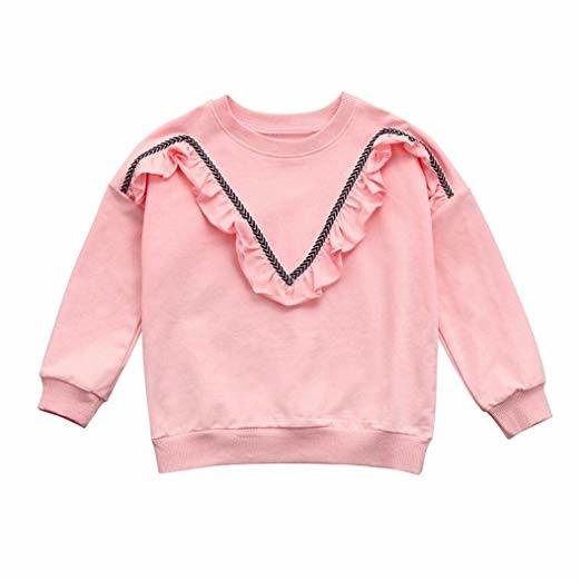 253baba8e Kids Baby Clothing Toddler Children Girls Sweatshirt Solid Crewneck Pullover  Tops Shirt