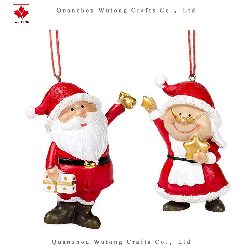 Hot Item Custom Resin Holiday Gift Santa And Mrs Claus Christmas Ornament