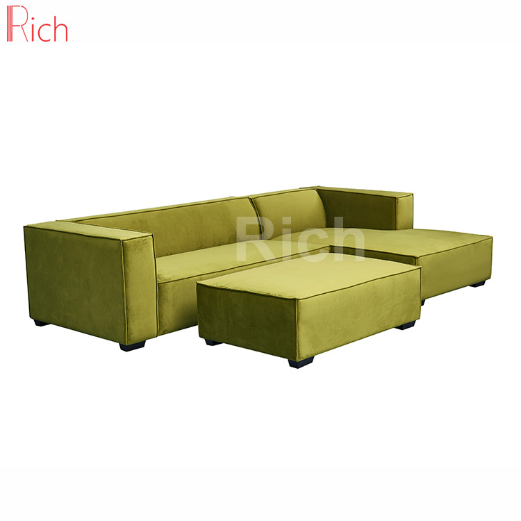 Hot Item Right Chaise Lounge Green Fabric Velvet Sectional Sofa With Footrest