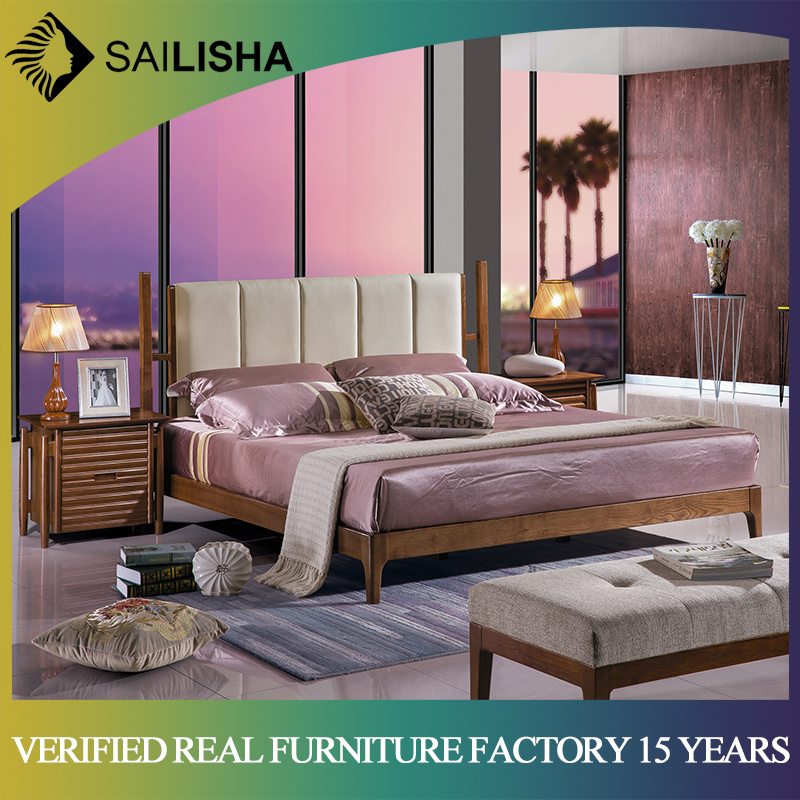 [Hot Item] Latest Double Bed Designs New Modern Bedroom Furniture Upholster  Leather Bed with Solid Wood Frame