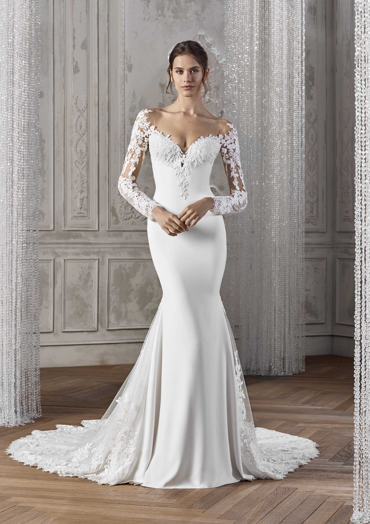 china long sleeves bridal gowns lace v-neck simple wedding