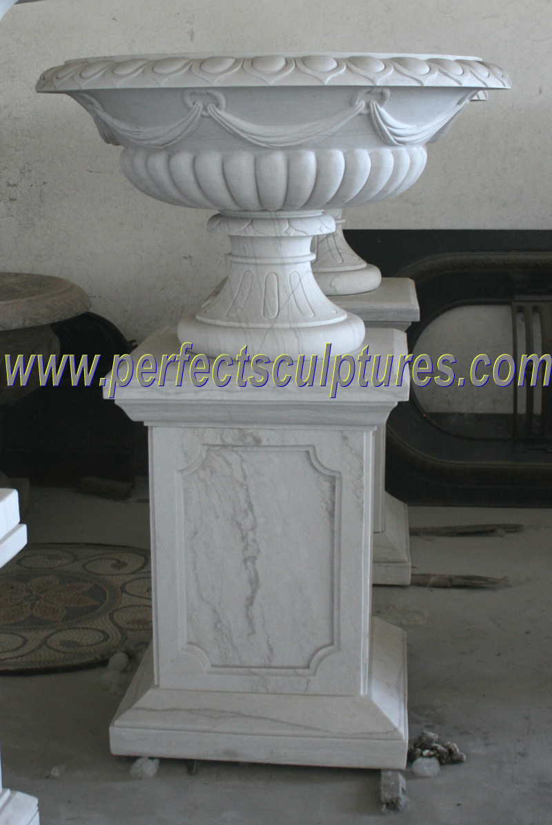 Carved Marble Flower Pot for Garden Stone (QFP318)