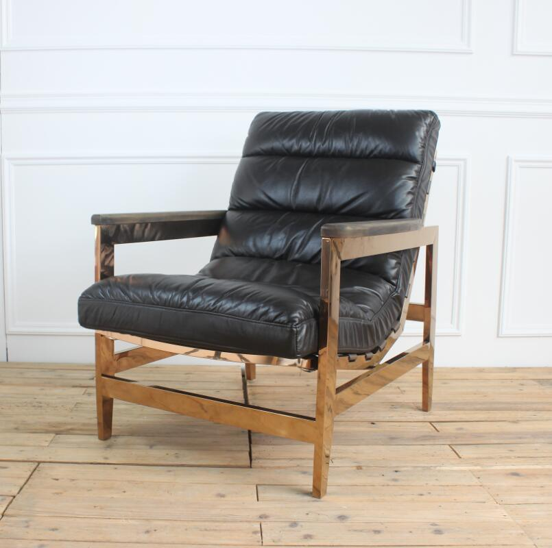 China Gold Metal Frame Black Leather Leisure Chaise Lounge Chair