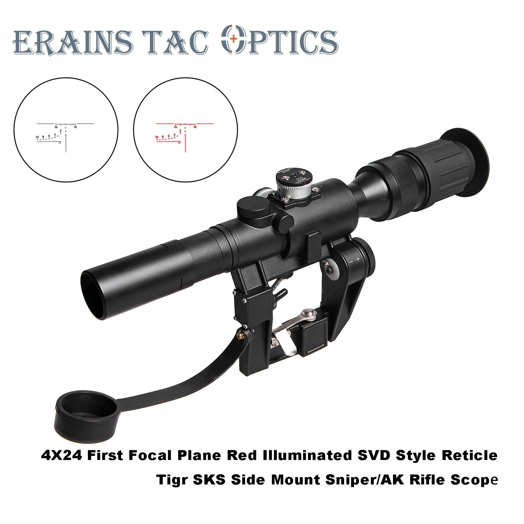 [Hot Item] Dragunov Sniper Rifle Scope Svd 4X24 Red Illuminated Ffp Reticle  Ak47 Sks Side Mount Riflescope