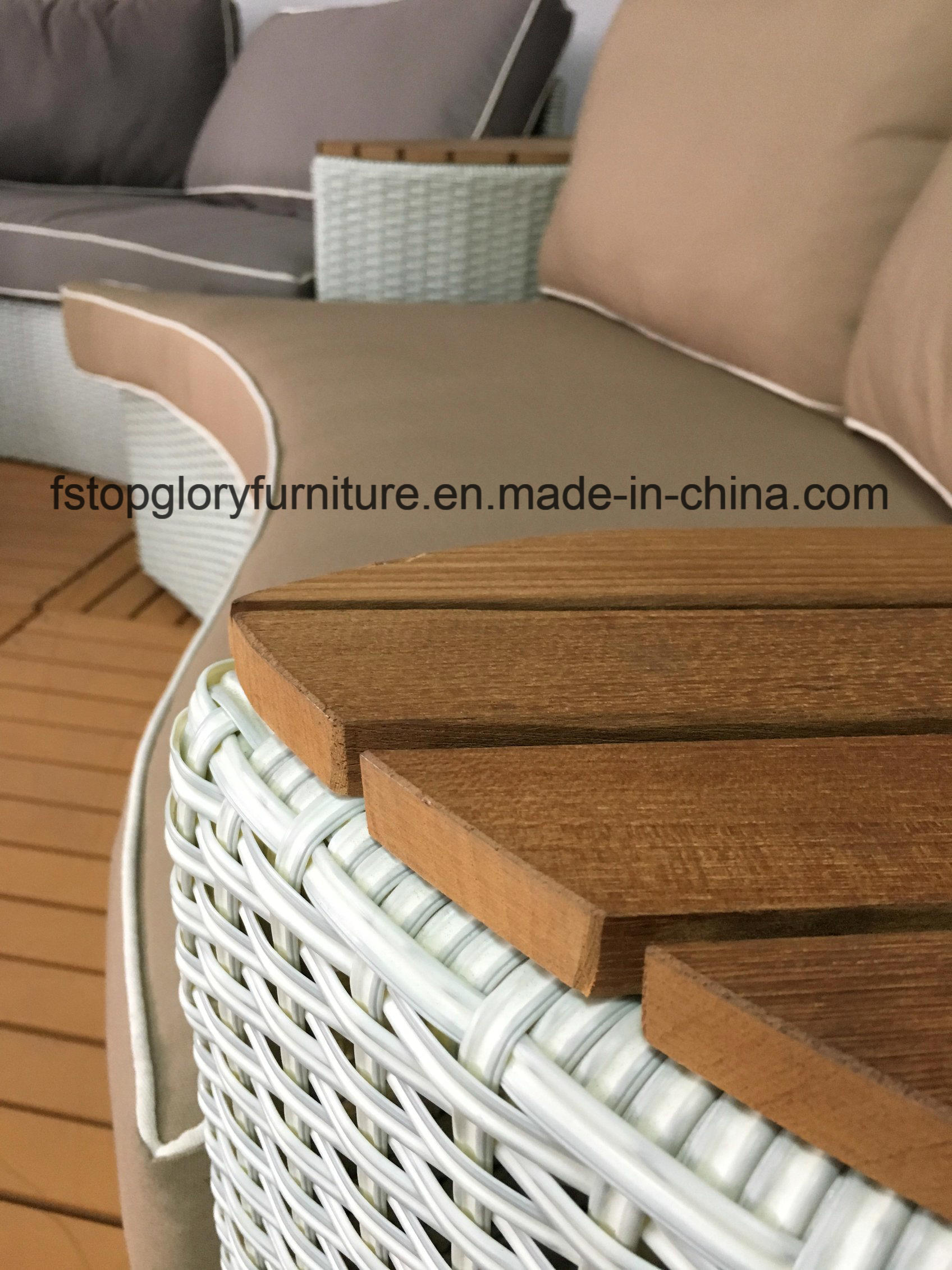 China Outdoor Patio Furniture Rattan and Plastic-Wood Garden Sofa ...