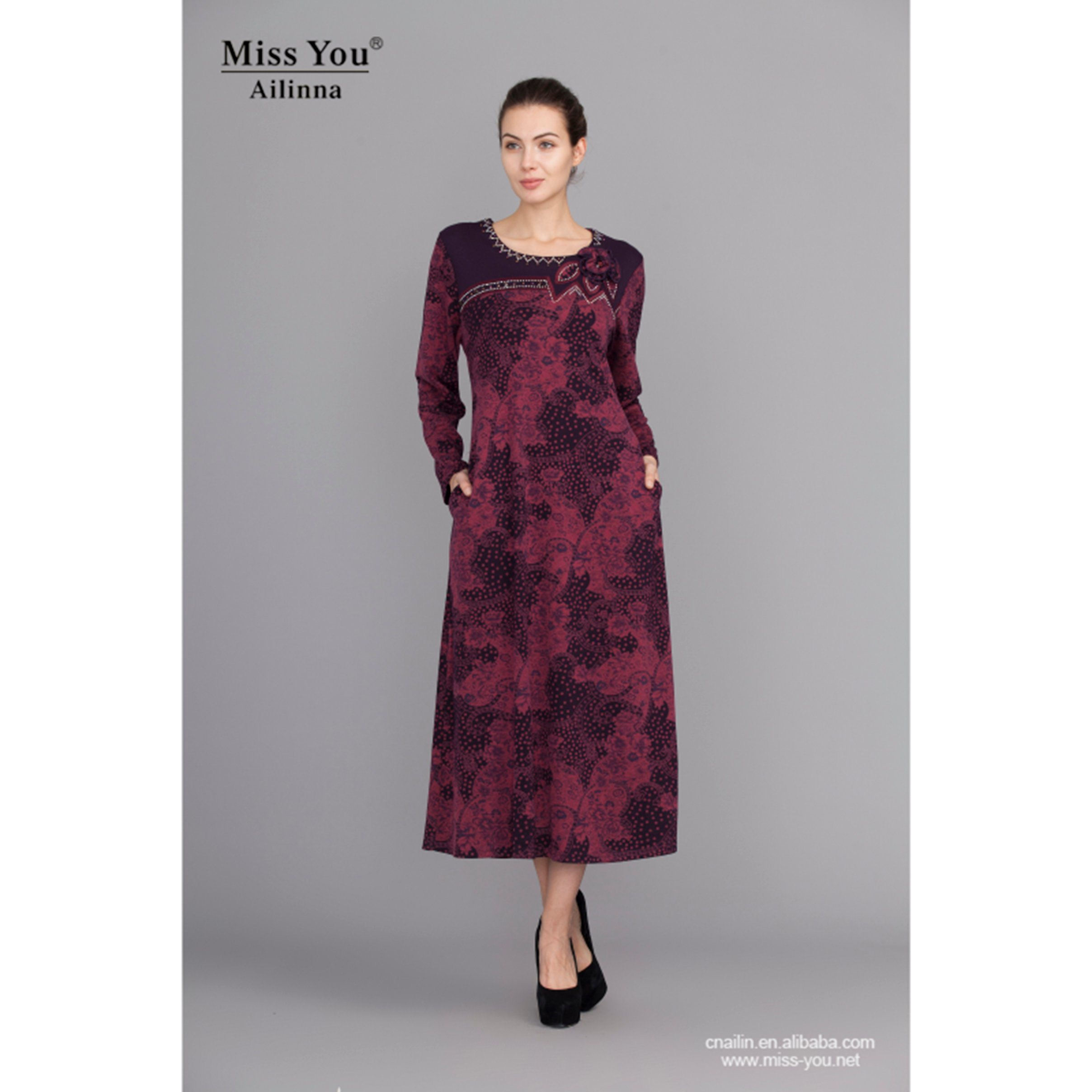 Miss You Ailinna 101221 Ladies Long Sleeve Claret-Red Floral Dress with Bead