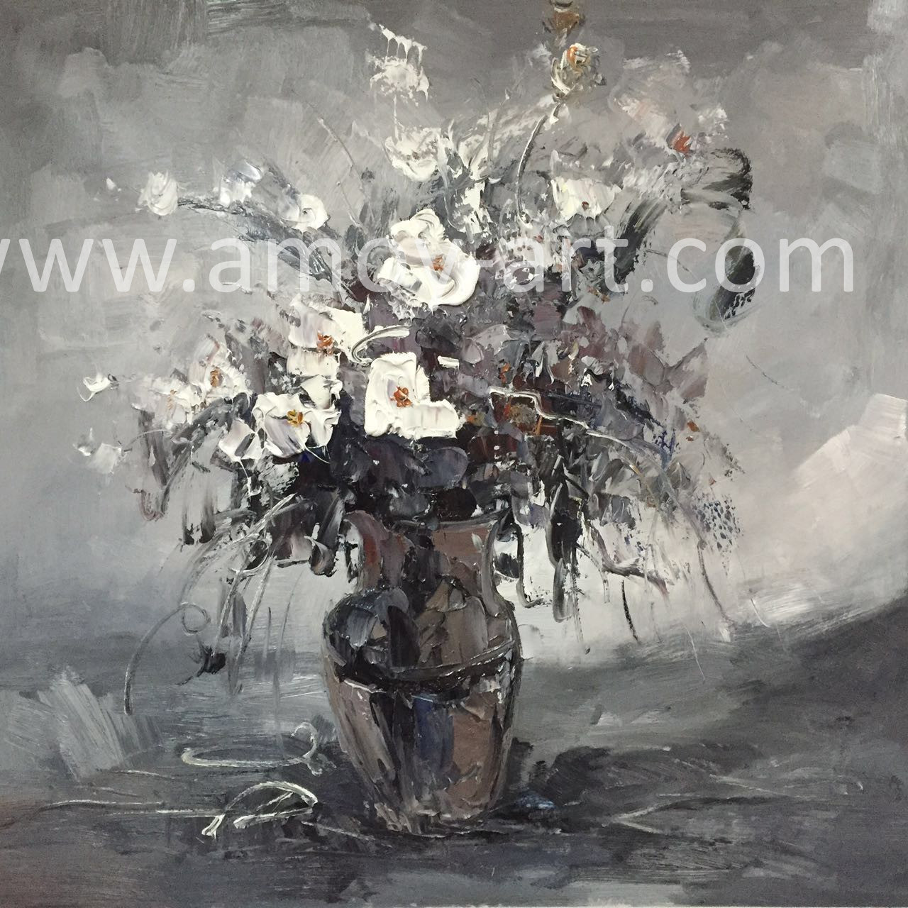 China Black And White Flower Oil Paintings For Home Decoration