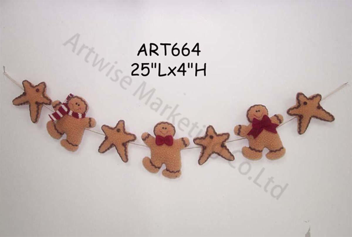 Fleece Christmas Party Decoration Garland Gingerbread