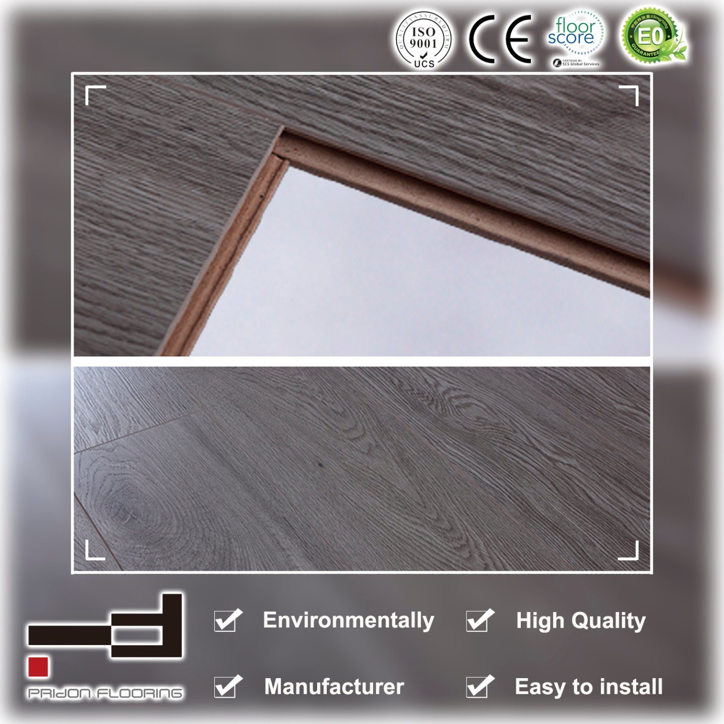 8mm 12mm Eir Light White Oak High Quality Drop Lock Laminate Flooring
