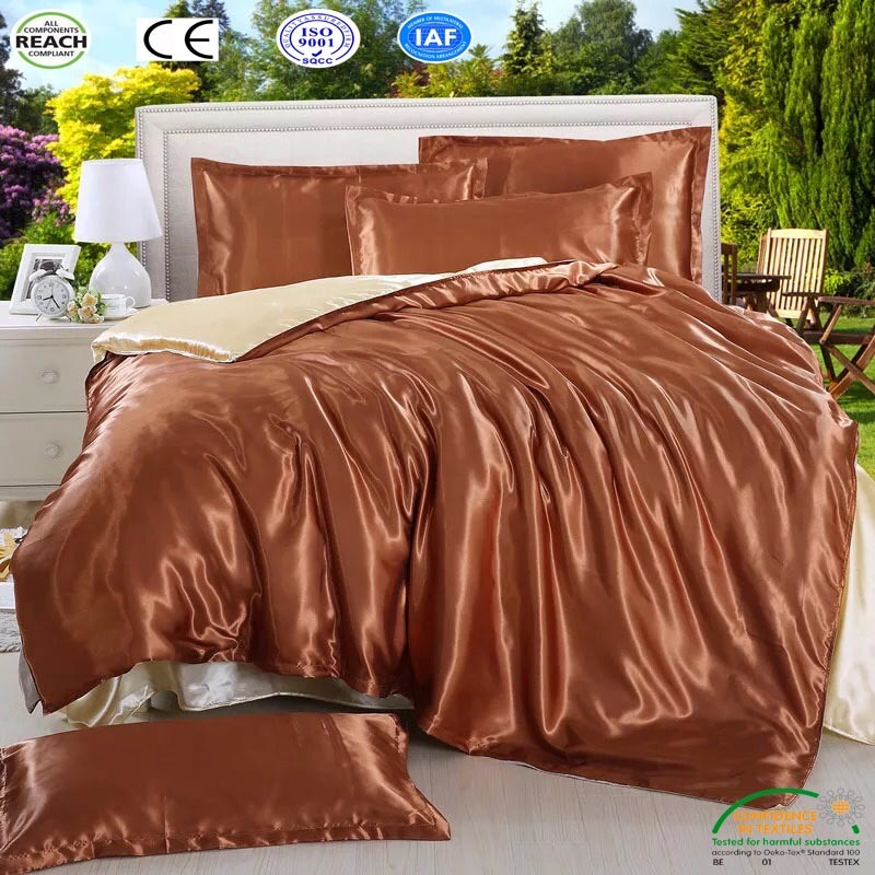 China Pure Color Satin Duvet Cover Set