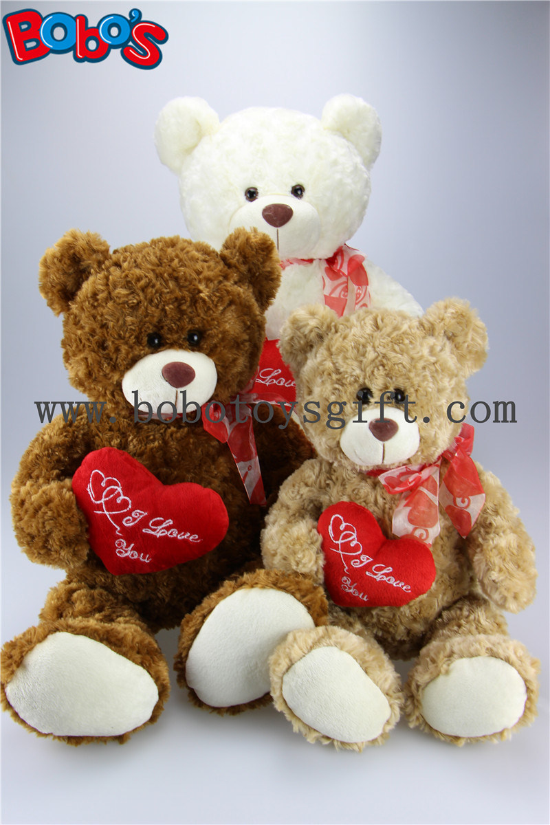 China 12 Light Brown Wholesale Lovely Teddy Bears With Red Ribbon