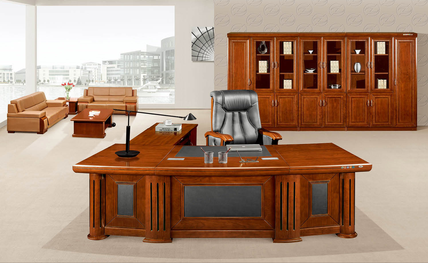 Arc Shaped Luxury Wooden Boss Large Executive Table