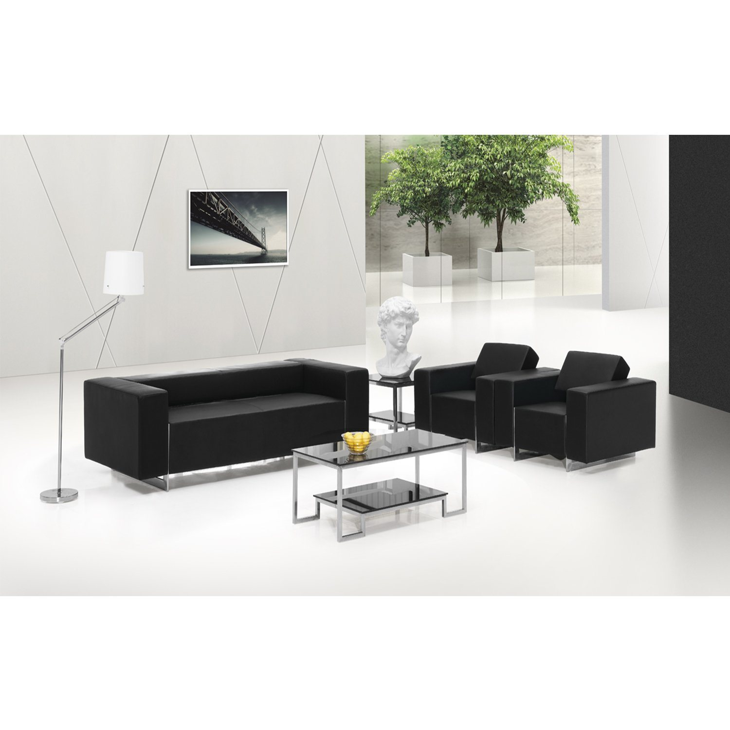 [Hot Item] Modern Design Black Leather Office Furniture Office Sofa