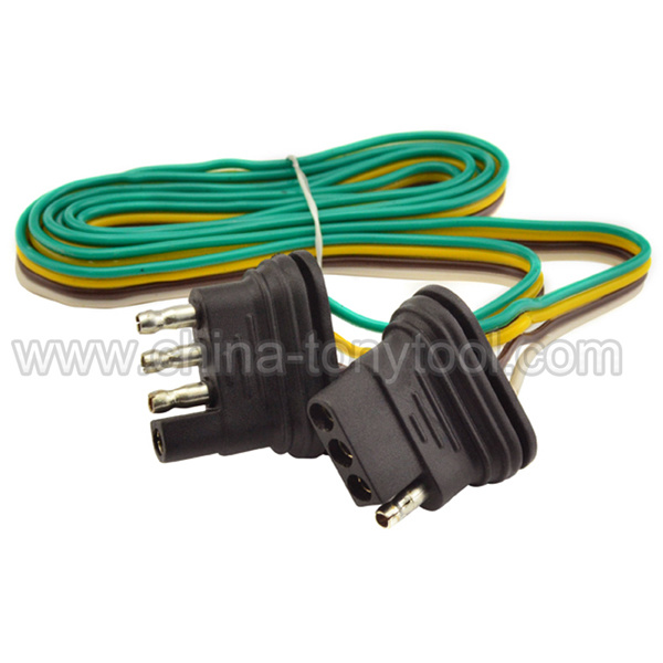 China 4 Way 4 Pin Plug Flat 20 Gauge Trailer Light Wiring