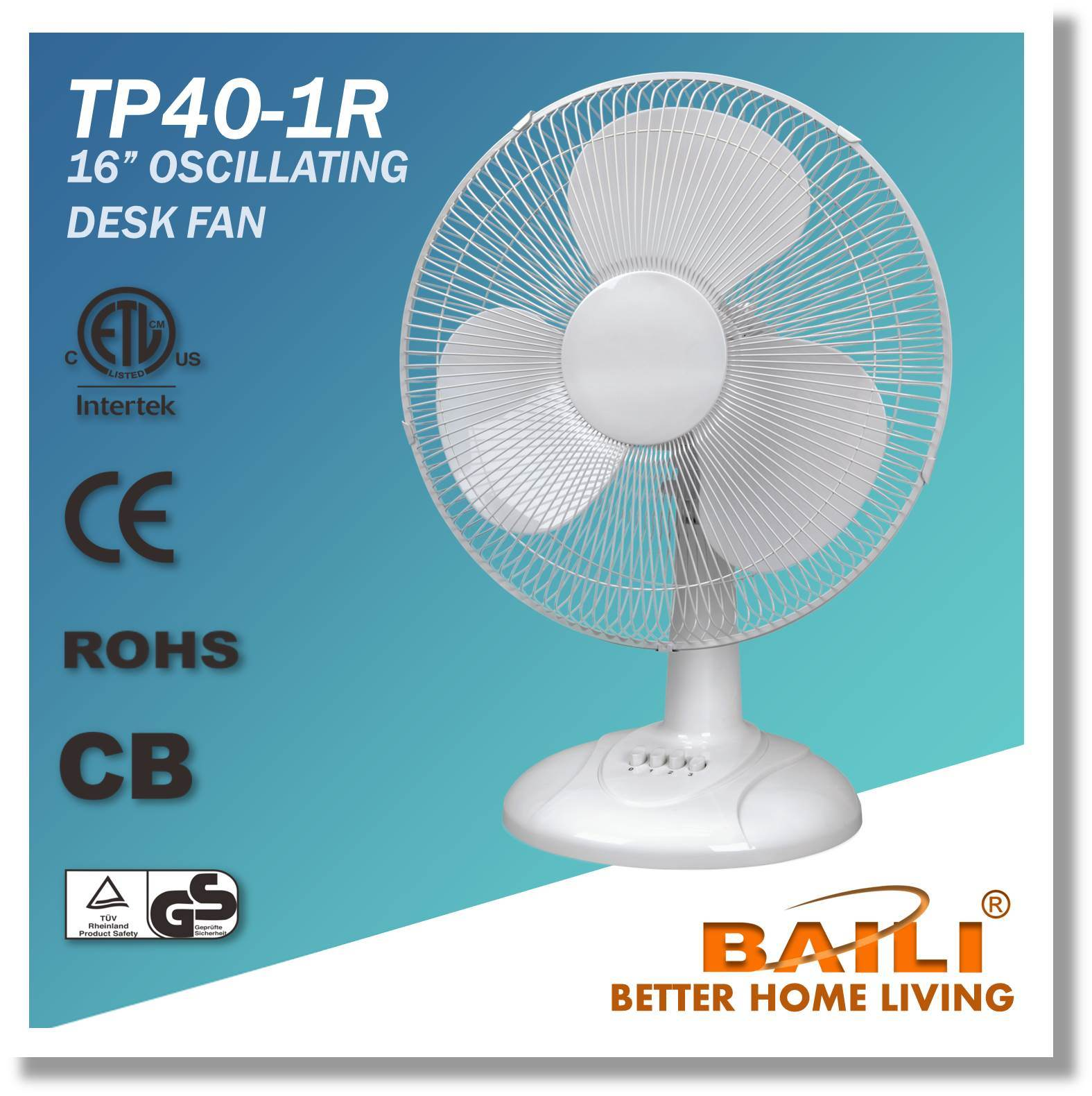 China 16 Inch Oscillating Cooling Desk Table Fan With Powerful Motor