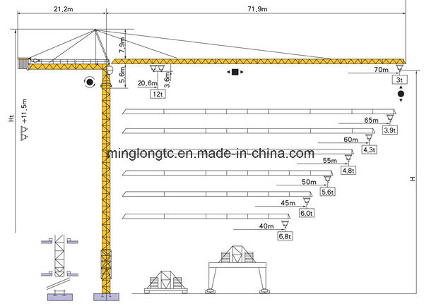 China K30/30 (TC7030) Topkit Tower Crane-12t - China Qtz100 Tower Crane,  Building Tower CraneShandong Minglong Construction Machinery Co., Ltd.