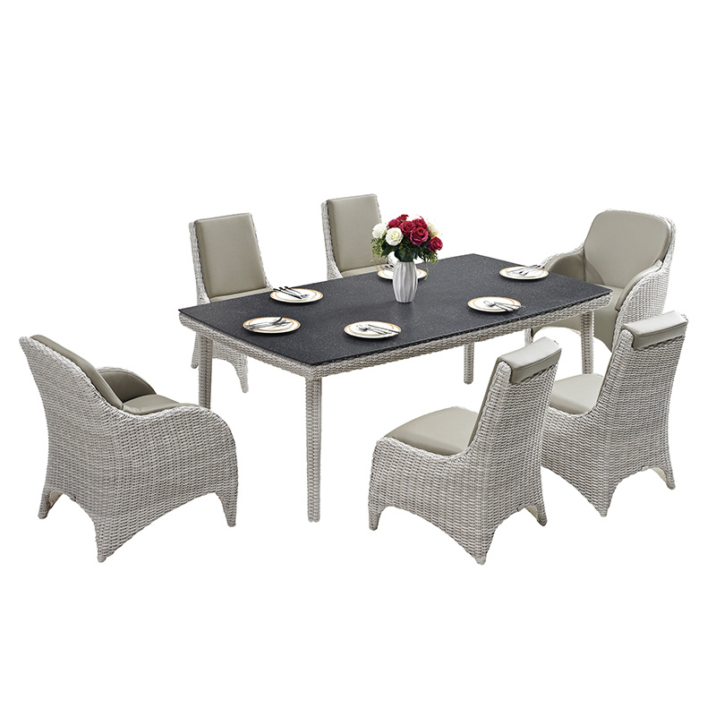 Hot Item Chair Rattan Stone Spray Glass Top Dining Table Set