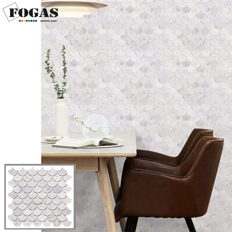China Natural Stone Backsplash Fan Carrara White Marble Mosaic China Carrara White Marble Marble Mosaic Tile